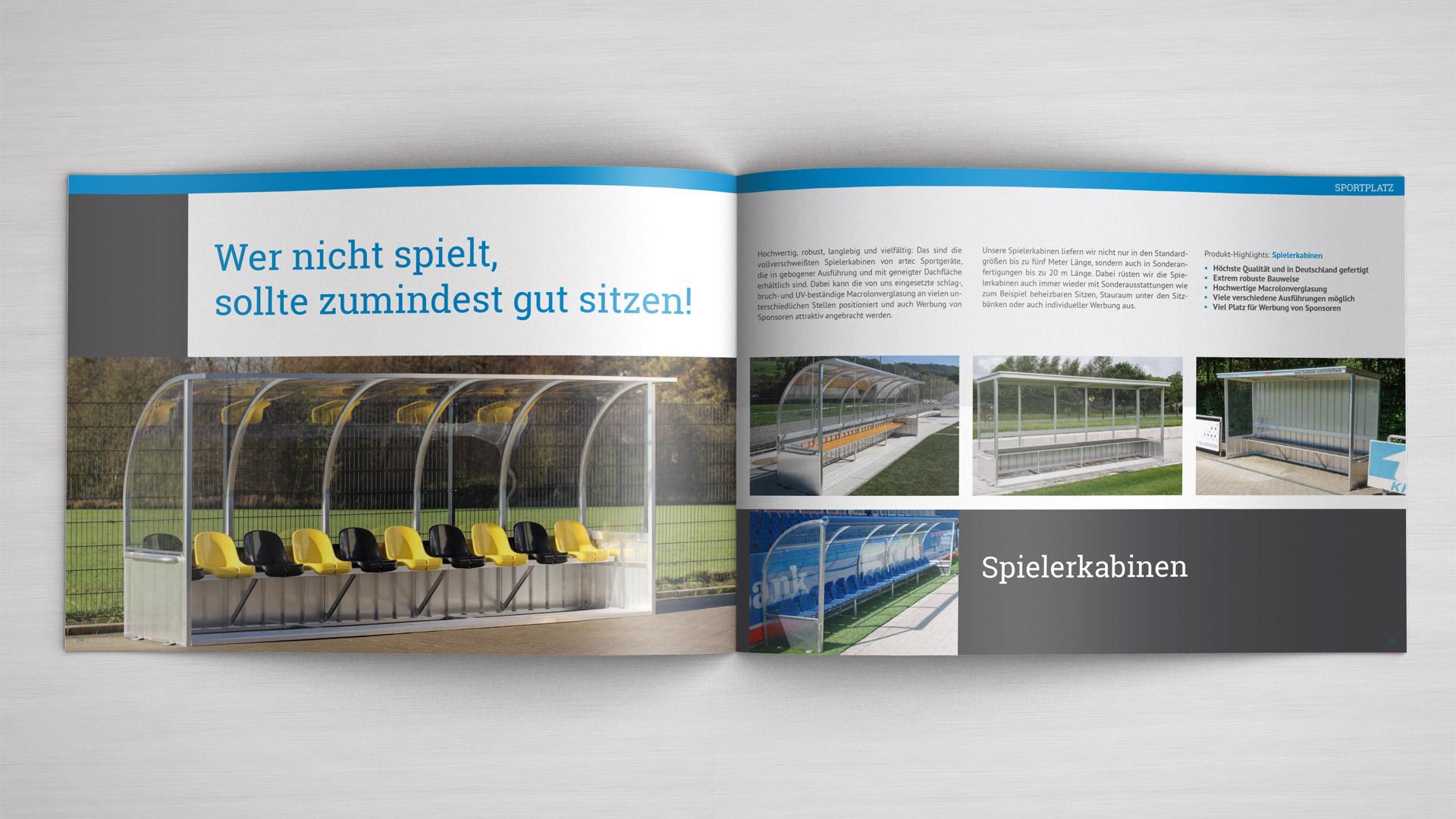 Imagebroschüre artec Spielerkabinen - Managementberatung aus Osnabrück